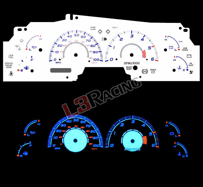 Ford F150 99: White Face Reverse Indiglo Glow Gauge MPH Kit For 99-03