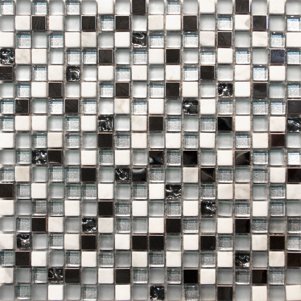 Kitchen Tiles Ebay: Stainless Steel White Marble Glass Mosaic Tile Sample~~ Kitchen Backsplash Spa