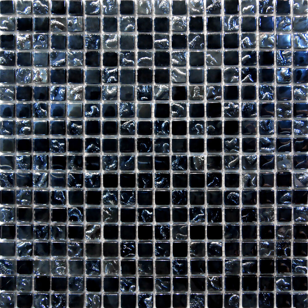 Sample Glass Mosaic Tile Silver Amp Black Backsplash 8mm