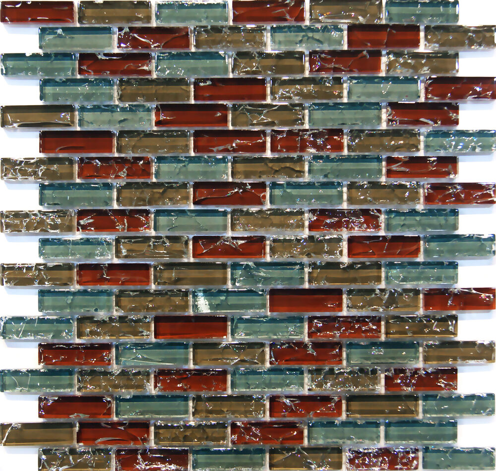 Sample Cream Crackle Glass Mosaic Tile Kitchen Backsplash: Sample- Natural Red Blue Crackle Glass Mosaic Tile Kitchen