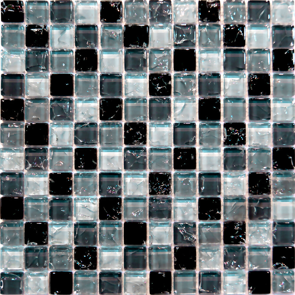 Sample Cream Crackle Glass Mosaic Tile Kitchen Backsplash: Crackle Glass Mosaic Tile Sample Backsplash Euro Style