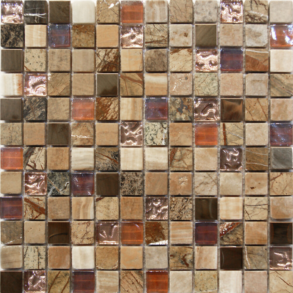 Sample Marble Green Brown Glass Linear Mosaic Tile: Natural Stone Glass Mosaic Tile Sample Backsplash 8mm