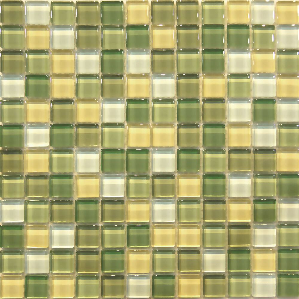Sample Cream Crackle Glass Mosaic Tile Kitchen Backsplash: Sample- Green Crystal Glass Mosaic Tile Kitchen Backsplash