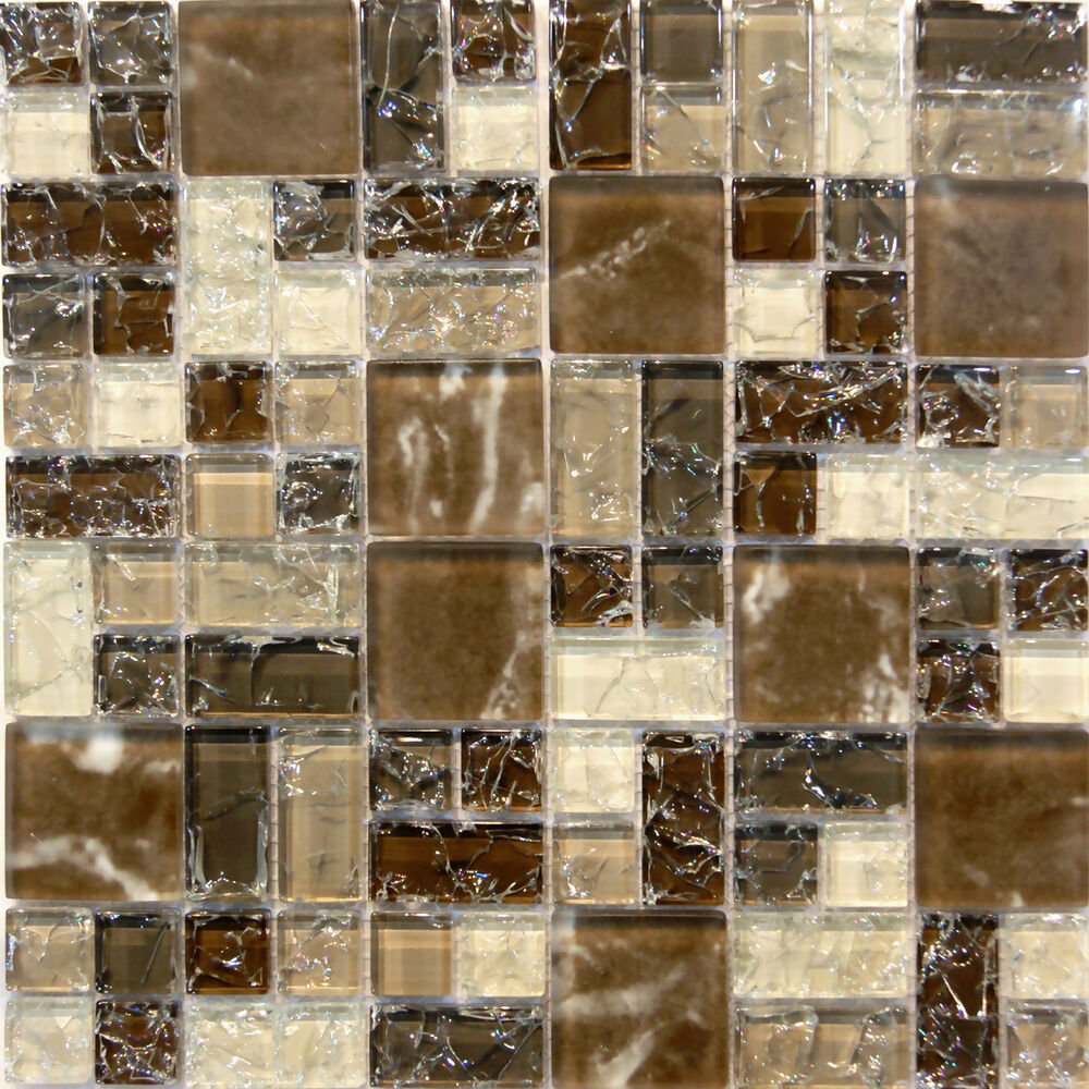 Sample Brown Glass Natural Stone Linear Mosaic Tile Wall: Natural Brown Crackle Pattern Glass Mosaic Tile Sample