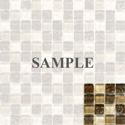 Sample Cream Crackle Glass Mosaic Tile Kitchen Backsplash: Natural Brown Crackle Glass Mosaic Tile Sample 8mm Sale