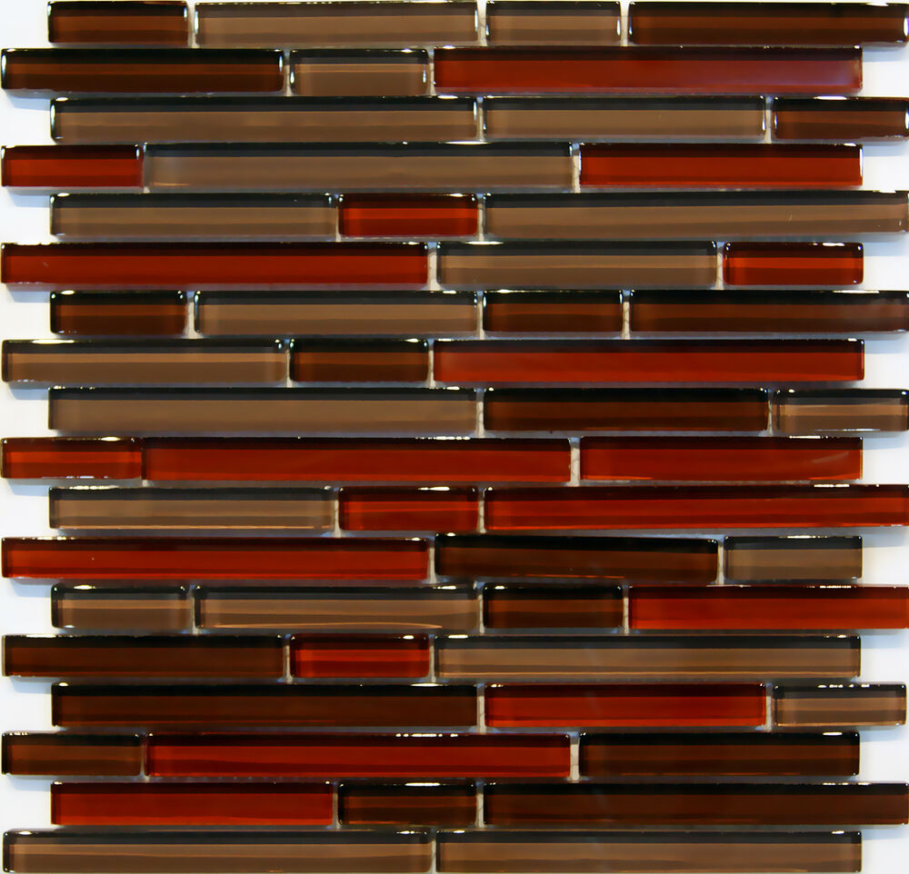 Sample Cream Crackle Glass Mosaic Tile Kitchen Backsplash: Sample- Natural Red Glass Mosaic Tile Kitchen Backsplash