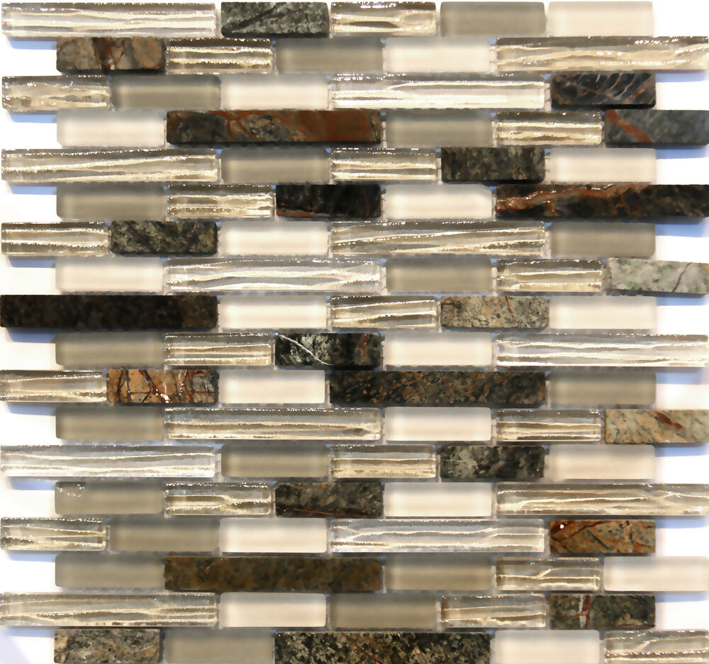 Natural Stone Glass Mosaic Tile Sample Backsplash 8mm: Green Marble Glass Mosaic Tile Sample Backsplash 8mm