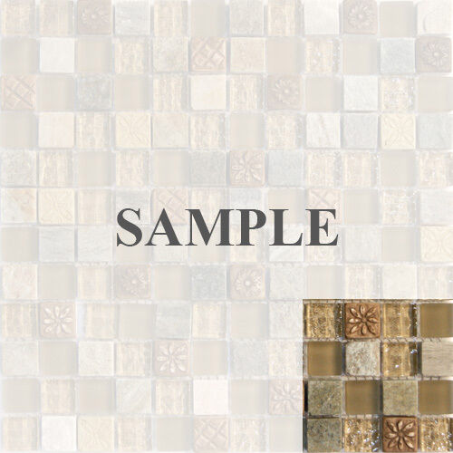 Sample Marble Green Brown Glass Linear Mosaic Tile: Sample- Natural Brown Stone Glass Mosaic Tile Kitchen