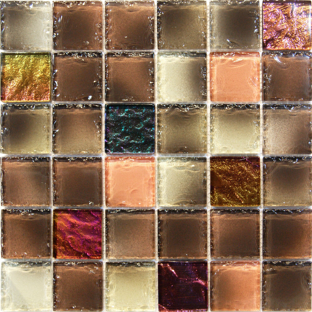 Sample Rustic Glass Mosaic Tile Backsplash 8mm Sale Kitchen Wall Shower Pool Ebay