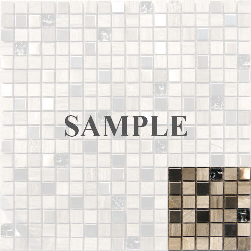Sample Cream Crackle Glass Mosaic Tile Kitchen Backsplash: Sample- Stainless Steel Stone Crackle Glass Mosaic Tile