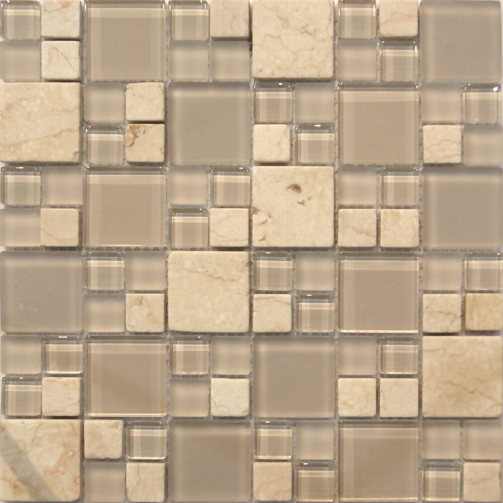 Sample Cream Crackle Glass Mosaic Tile Kitchen Backsplash: Sample- Stone And Glass Mosaic Tile Kitchen Backsplash