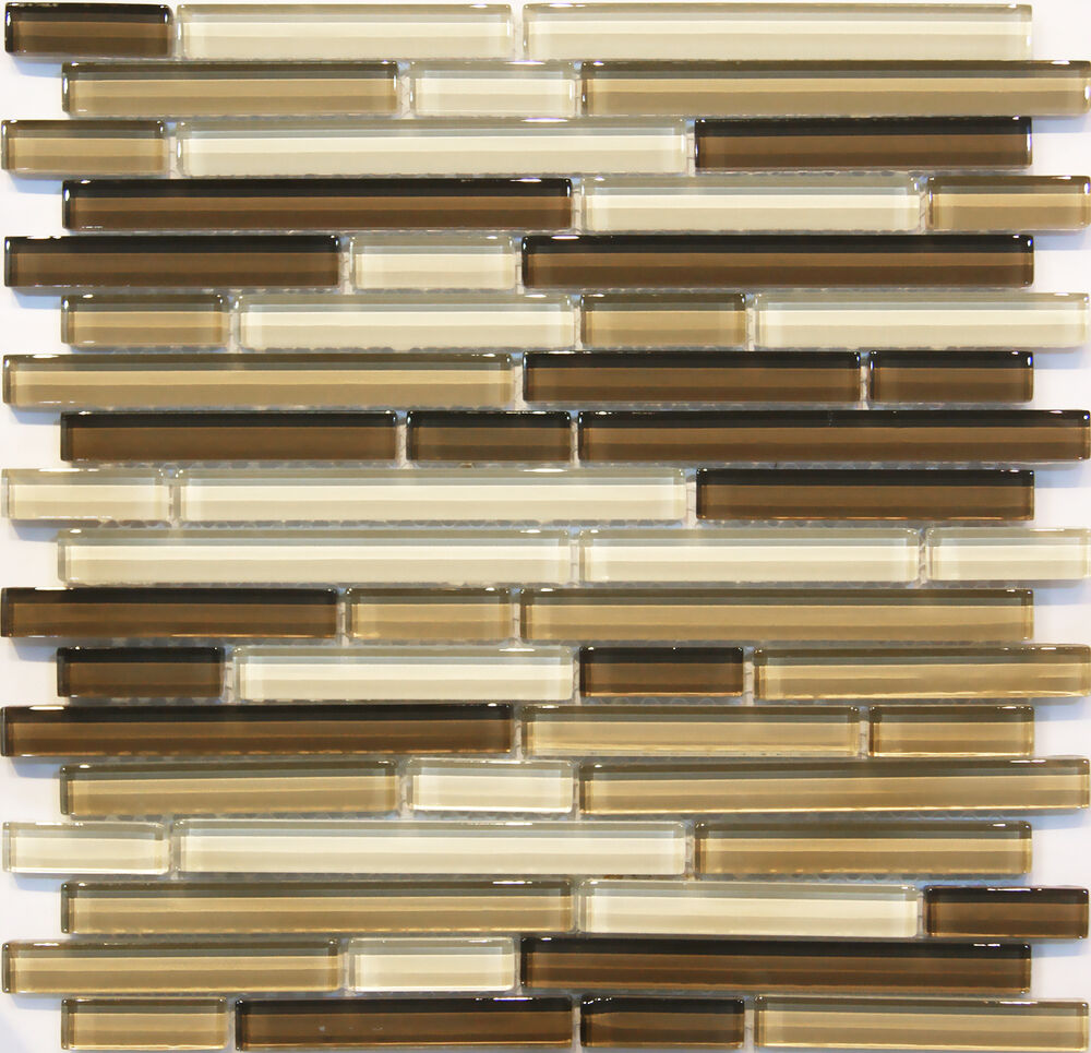 Kitchen Wall Tile Backsplash: 10SF Neutral Brown Glass Mosaic Tile Kitchen Backsplash