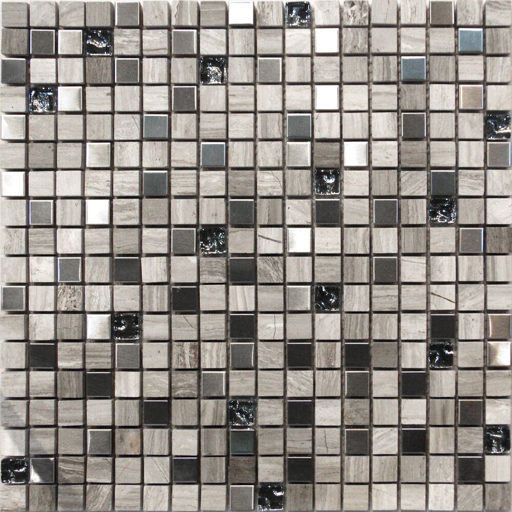 10sf Stainless Steel Stone Crackle Glass Mosaic Tile