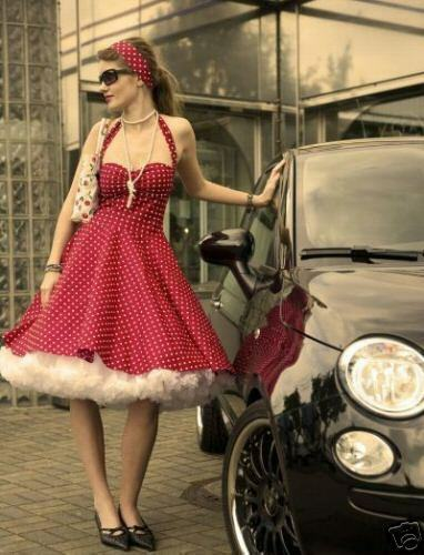 50er jahre punkte kleid rockabilly petticoat dots ebay. Black Bedroom Furniture Sets. Home Design Ideas