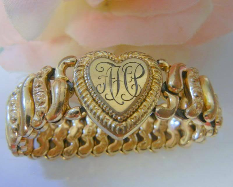 Antique American Queen 12k Gold Gf Sweet Heart Bracelet Ebay