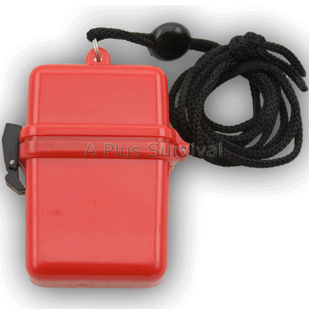 Red Waterproof Small Storage Box Boating Hiking Survival