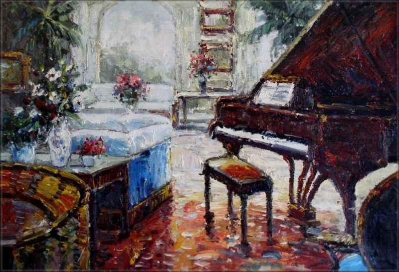 Quality Hand Painted Oil Painting Grand Piano In Living Room Ii 24x36in Ebay