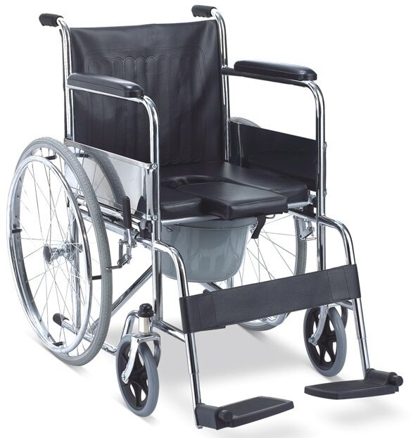 3 In 1 Folding Mobile Shower Commode Wheelchair With Padded Seat Commode Buck