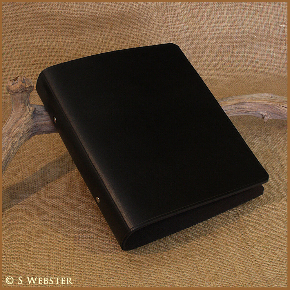 A5 BLACK LEATHER 2 RING BINDER, NOTEBOOK, FOLDER, ALBUM