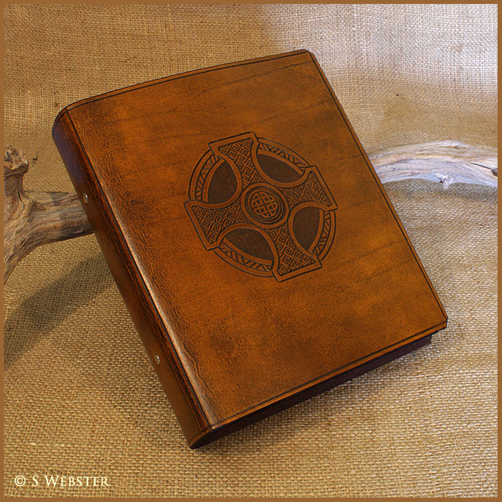 A5 BROWN LEATHER 2 RING BINDER, CELTIC CROSS, FOLDER, Free