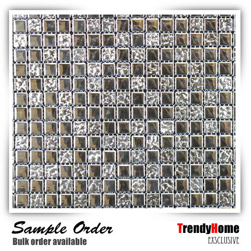 Silver Kitchen Wall Tiles: Sample-Glass Mosaic Tile Silver Wall Kitchen Backsplash