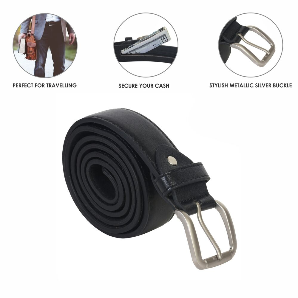 leather money belt zipper new black safe size large sylish