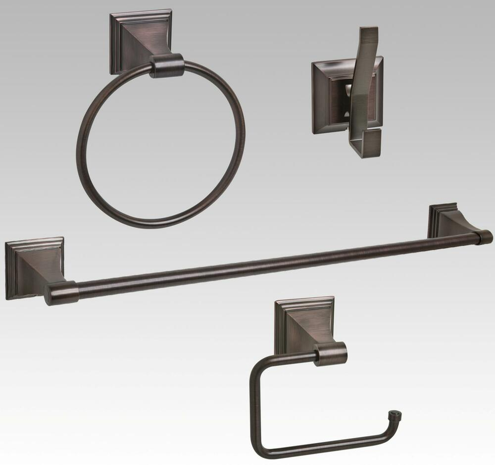 Oil rubbed bronze bathroom hardware accessory set ebay for Bathroom hardware sets