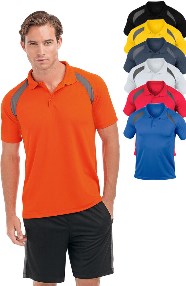 Hanes 7740 cool dri plain contrast polyester breathable for Men s polyester polo shirts