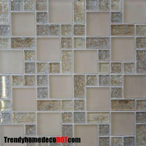 Sample cream crackle glass mosaic tile kitchen backsplash for Glass instead of tiles in kitchen