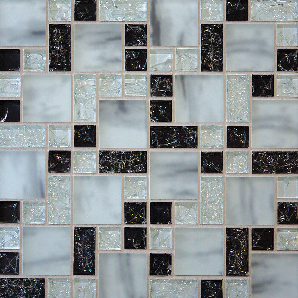 Sample Cream Crackle Glass Mosaic Tile Kitchen Backsplash: Sample White Marble Crackle Glass Mosaic Tile Kitchen
