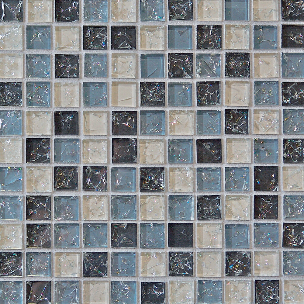 Sample Cream Crackle Glass Mosaic Tile Kitchen Backsplash: Sample- Blue Crackle Glass Mosaic Tile Kitchen Backsplash
