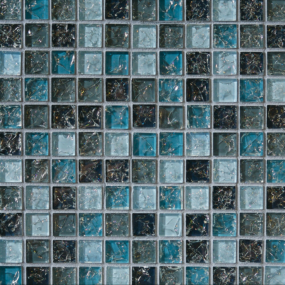 Sample Cream Crackle Glass Mosaic Tile Kitchen Backsplash: Sample- Blue Glass Mosaic Tile Crackle Kitchen Backsplash