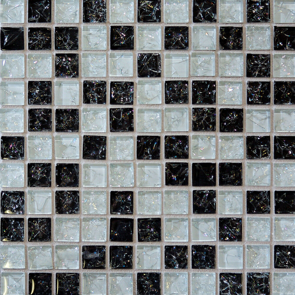 Sample Black White Crackle Pattern Glass Mosaic Tile