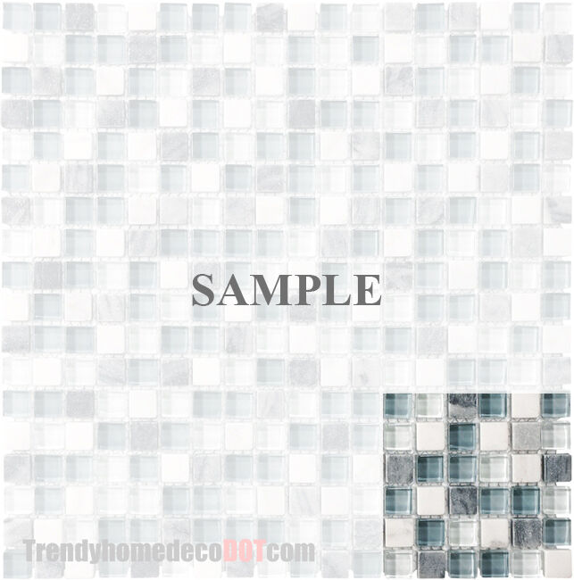 Sample White Glass Stone Metal Linear Glass Mosaic Tile: Sample- Blue White Stone Glass Mosaic Tile Kitchen