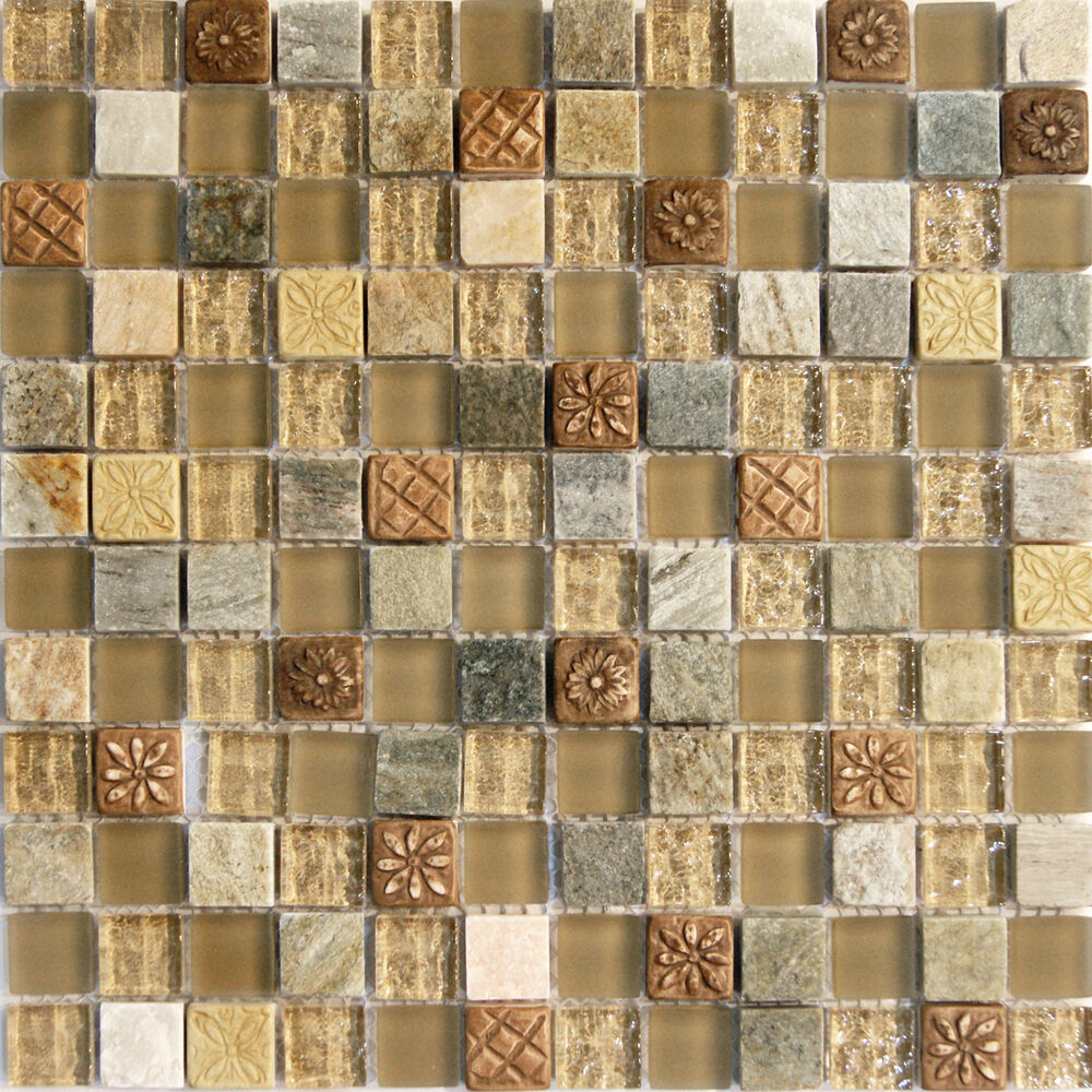 1 sf natural brown stone glass mosaic tile backsplash kitchen wall bathroom sink ebay for Glass mosaic tile backsplash bathroom