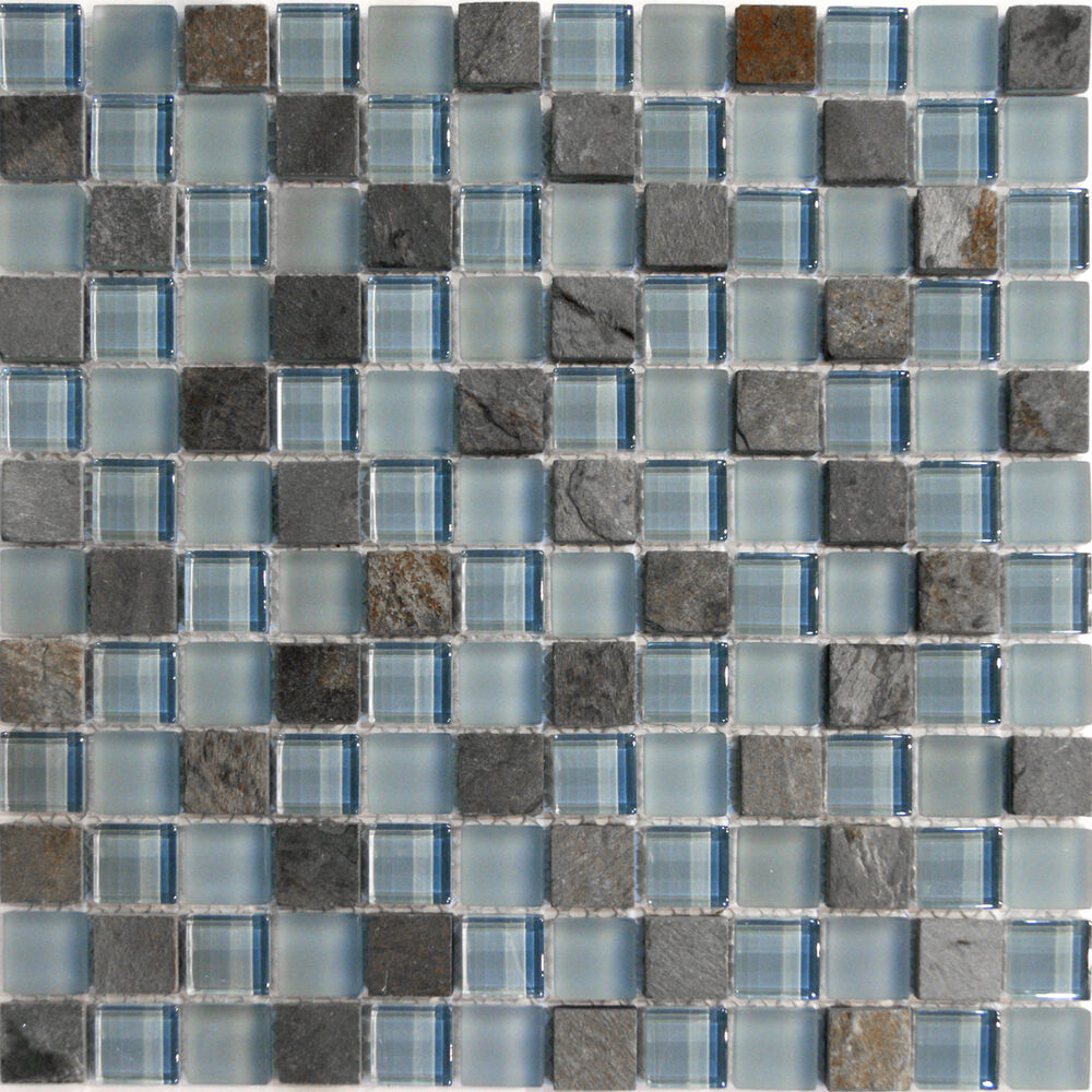 1 sf natural stone blue glass mosaic tile backsplash