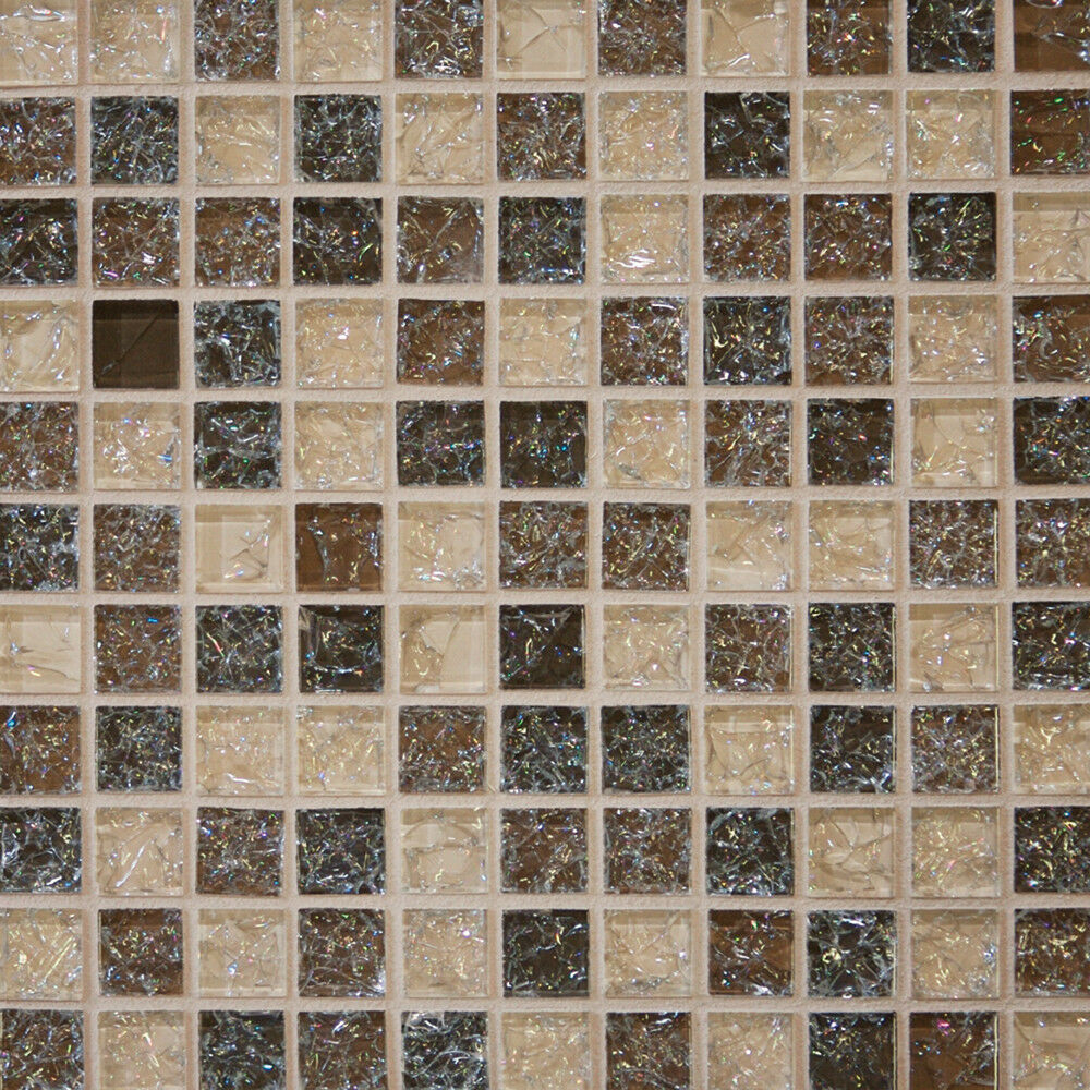 1 Sf Crackle Brown Glass Mosaic Tile Backsplash Kitchen Wall Bathroom Shower Spa Ebay