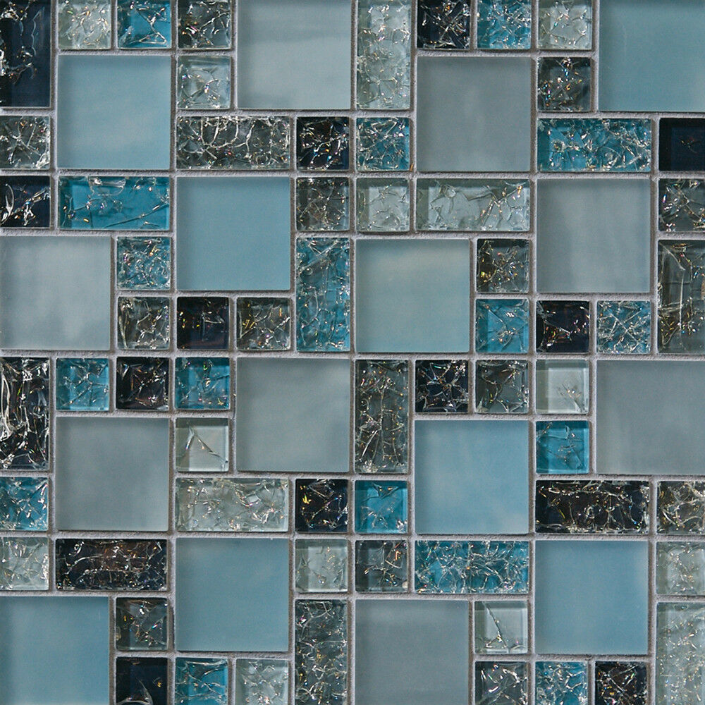 1 sf blue crackle glass mosaic tile backsplash kitchen for Bathroom design ideas mosaic tiles