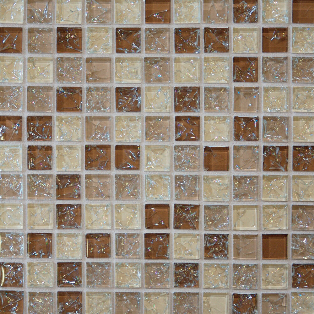 1 Sf Brown Crackle Glass Mosaic Tile Backsplash Kitchen Wall Bathroom Shower Spa Ebay