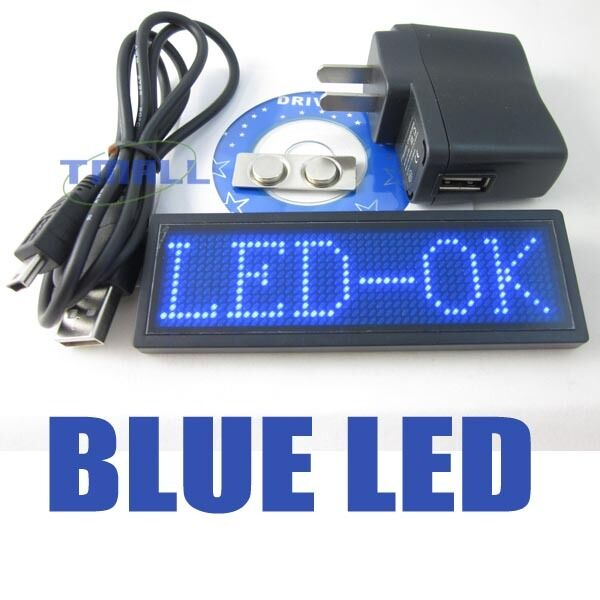 New Blue Programmable Message Moving Scrolling Led Name