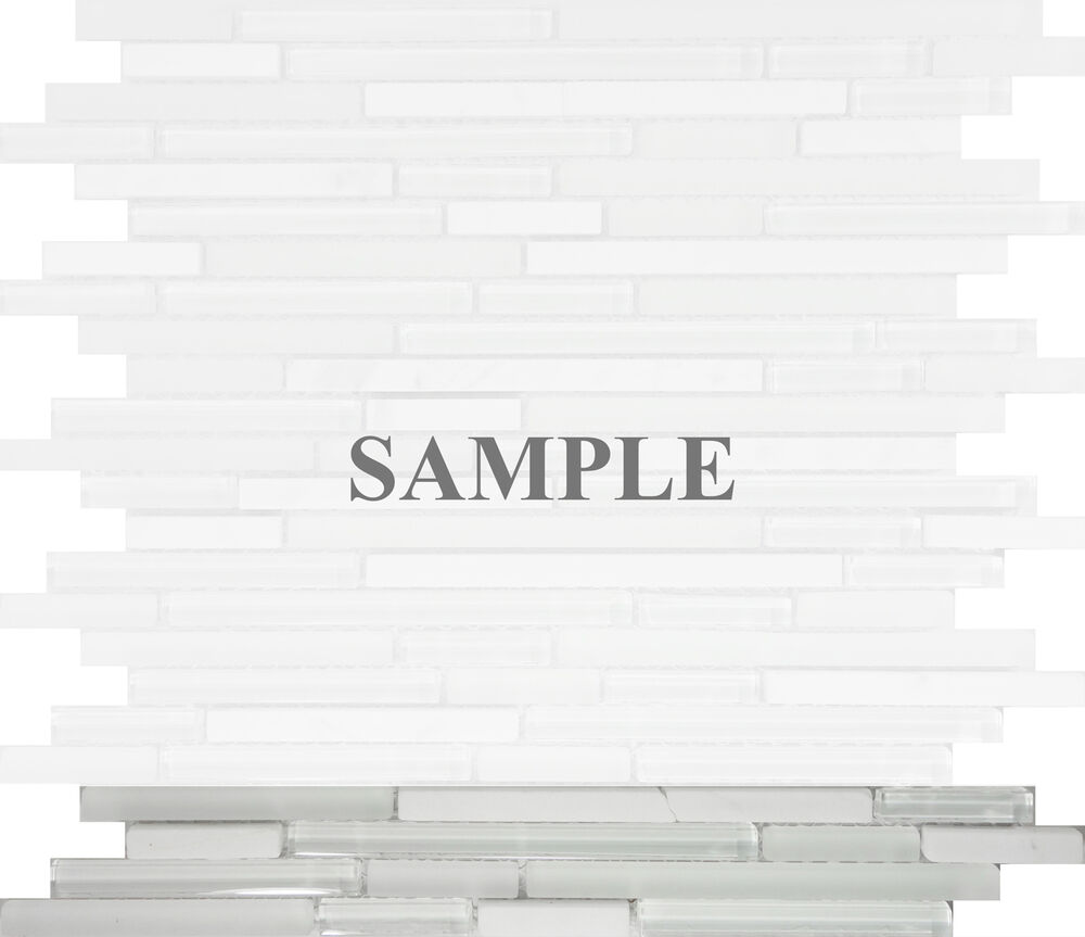 Sample Marble Green Brown Glass Linear Mosaic Tile: Sample- White Marble Glass Blend Linear Mosaic Tile