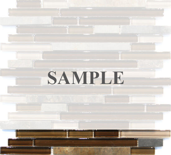 Sample Cream Crackle Glass Mosaic Tile Kitchen Backsplash: Sample- Brown Linear Natural Stone Crystal Glass Mosaic