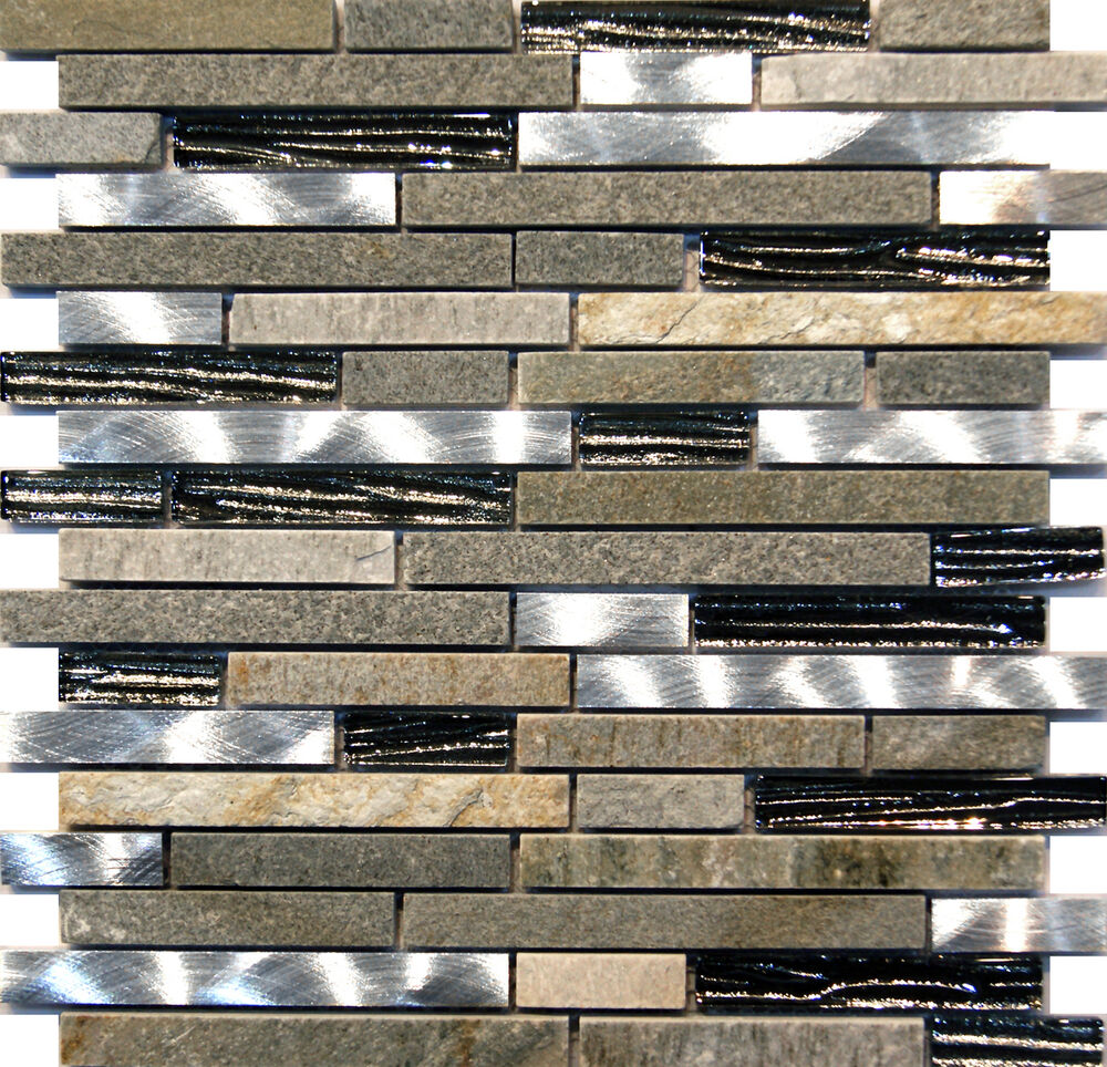10SF Silver Glass Stainless Steel Natural Stone Blend Mosaic Tile