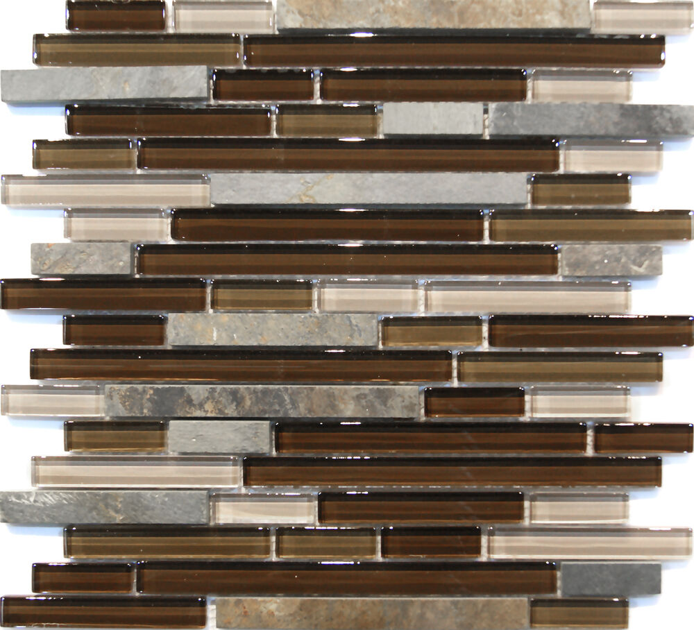 10-SF Brown Linear Natural Stone Crystal Glass Mosaic Tile