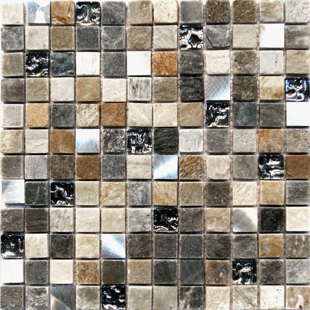 Sample Black Metallic Deco Insert Crackle Glass Mosaic: 10-SF Stainless Steel Silver Glass Natural Stone Blend