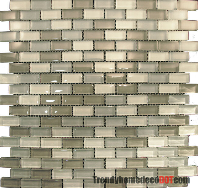 Kitchen Tiles Ebay: Sample- Ice Gray Mini Brick Crystal Glass Mosaic Tile Kitchen Backsplash Bath