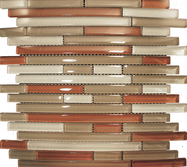 Sample Marble Green Brown Glass Linear Mosaic Tile: Sample- Red Brown Linear Beige Glass Mosaic Tile Kitchen