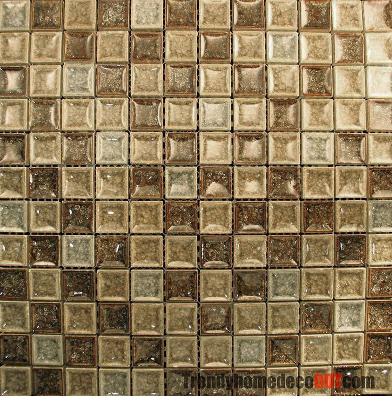 Sample Marble Green Brown Glass Linear Mosaic Tile: Sample- Brown Green Ceramic Crackle Glass Glazing Mosaic