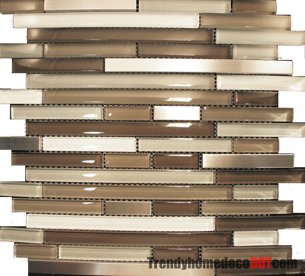 Sample Cream Crackle Glass Mosaic Tile Kitchen Backsplash: Sample- Stainless Steel Cream Beige Linear Glass Mosaic