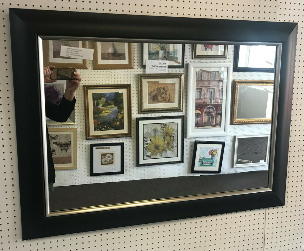 "NEW LARGE MODERN 3""(77mm) BLACK & SILVER FRAMED WALL AND"